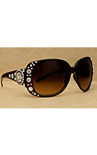 Blazin Roxx Women's Brown with Silver Round Concho and Clear Crystals Sunglasses