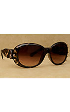 Blazin Roxx Women's Brown with Bronze Wings and Topaz Crystals Sunglasses