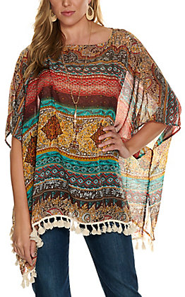 Magnolia Lane Women's Teal, Rust and Brown Poncho Fashion Top