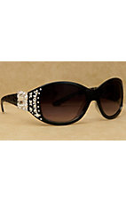 Blazin Roxx Women's Black Zebra with Silver Square Berry Concho and Clear Crystals Sunglasses