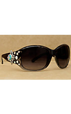 Blazin Roxx Women's Black with Silver Berry Diamond Concho with Turquoise and Clear Crystals Sunglasses