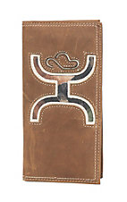 HOOey Brown Leather with Large Camo Inlay Logo Rodeo Wallet / Check Book