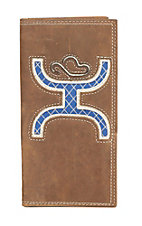HOOey Brown Leather with Large Blue Inlay Logo Rodeo Wallet / Check Book