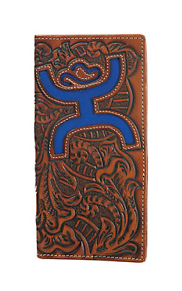 HOOey Brown Floral Embossed with Large Blue Logo Rodeo Wallet / Check Book