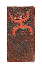HOOey Brown Floral Embossed with Large Orange Logo Rodeo Wallet / Check Book