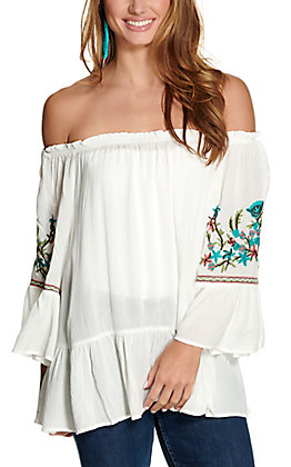 Anne French Women's White with Floral Embroidery Bell Sleeve Fashion Top