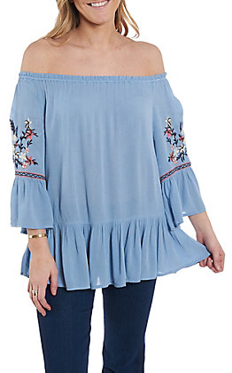 Anne French Women's Blue Embroidered Ruffle Sleeve Fashion Top