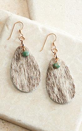 J.Forks Designs Cowhide Teardrop with Turquoise Stone Earrings