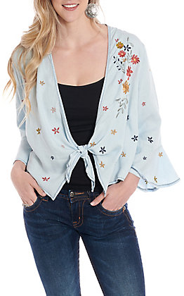 Anne French Women's Blue Floral Embroidered Tie Front Cardigan