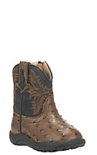 Roper Infant Brown Ostrich Print Round Toe Western Boots