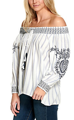 Magnolia Lane Women's White with Blue Stripes and Embroidery Smocked Neck Long Sleeve Fashion Top