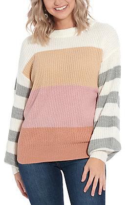 April Sky Women's Multi Color Blocked Striped Sweater