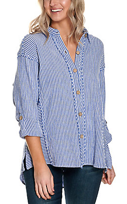 Anne French Women's Blue and White Stripe Button Down Oversized Long Sleeve Fashion Top