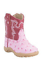 Roper Infant Pink Ostrich Print with Pink Top Round Toe Western Boots