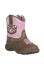 Roper Infant Chocolate with Pink Top Round Toe Western Boots