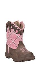 Roper Infant Pink with Brown Round Toe Western Boots