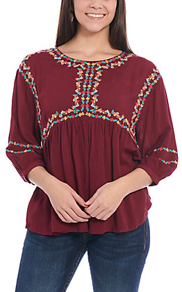 April Sky Women's Burgundy Floral Embroidered Babydoll Fashion Top