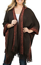 Anne French Women's Brown and Rust Fringe Hooded Poncho Cardigan
