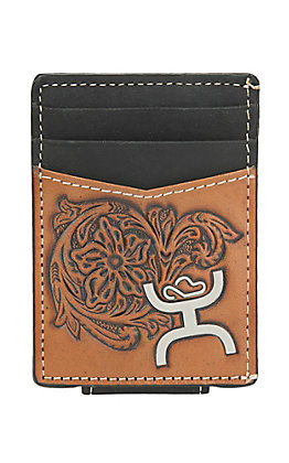 HOOey Black and Brown Tooled Leather Money Clip