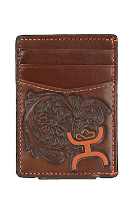 HOOey Brown Floral Tooled Leather Money Clip