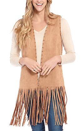 April Sky Women's Faux Camel Suede Fringe Vest