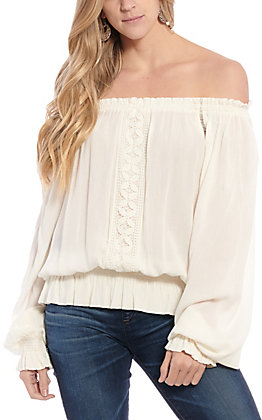 Rockin' C Women's Cream Lace Off the Shoulder Fashion Top