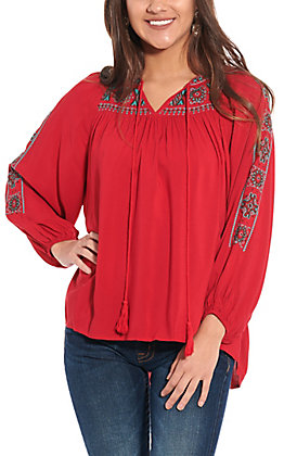 Rockin' C Women's Red Embroidered Fashion Top