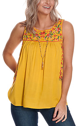 Savanna Jane Women's Mustard with Floral Embroidery Sleeveless Fashion Tank Top