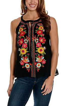 Savanna Jane Women's Black with Floral Embroidery Sleeveless Halter Fashion Tank Top