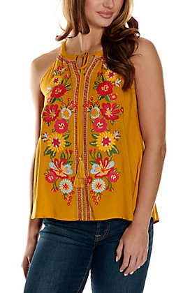 Savanna Jane Women's Mustard with Floral Embroidery Sleeveless Halter Fashion Tank Top