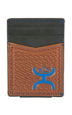 HOOey Black with Brown Basket Weave and Blue Logo Money Clip