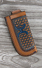 HOOey Tan Basket Weave with Blue Logo Knife Sheath