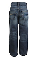 Cinch Boy's Dark Wash Sawyer with Cream Embroidered Open Pocket Boot Cut Jeans