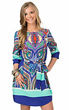 Renee C. Women's Royal Aqua Multicolor Print Wrap Dress