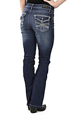Wired Heart Women's Medium Wash with Thick Stitch Brown Embroidered Pocket Flaps Boot Cut Jeans