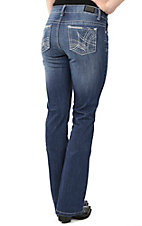 Wired Heart Women's Medium Wash with Blue and Grey Embroidery on Open Pocket Boot Cut Jeans