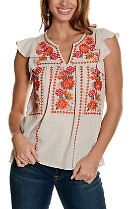 Savanna Jane Women's Taupe with Multi-Colored Floral Embroidery Cap Ruffle Sleeves Fashion Top