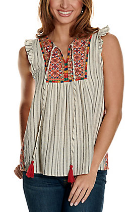 Savanna Jane Women's White with Charcoal Stripes and Multi-Colored Embroidery Ruffle Sleeves Fashion Top