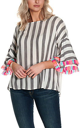 Savanna Jane Women's Black and White Stripes with Multi-Colored Tassels Short Sleeve Fashion Top