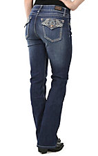 Wired Heart Women's Dark Wash with Brown and Tan Aztec Embroidery Flap Pocket Boot Cut Jeans