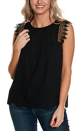 Savanna Jane Women's Black Eyelet with Lace Trim Sleeveless Fashion Tank Top