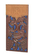 HOOey Brown & Blue with Floral Tooling Overlay Logo Rodeo Wallet / Check Book
