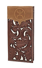 HOOey Brown & Ivory with Floral Tooling Overlay Logo Rodeo Wallet / Check Book