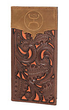 HOOey Brown & Orange with Floral Tooling Overlay Logo Rodeo Wallet / Check Book