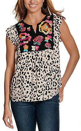 Savanna Jane Women's Leopard Print with Multi-Colored Floral Embroidery Cap Sleeves Fashion Top