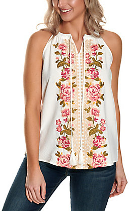 Savanna Jane Women's Ivory with Pink Floral Embroidery Sleeveless Fashion Tank Top