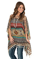Anne French Women's Spice Teal Fashion Poncho Shirt