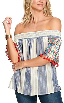 Savanna Jane Women's Denim and White Stripes with Multi-Colored Embroidery and Tassels Short Sleeves Fashion Top