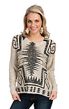 Karlie Cream and Metallic Aztec Sweater