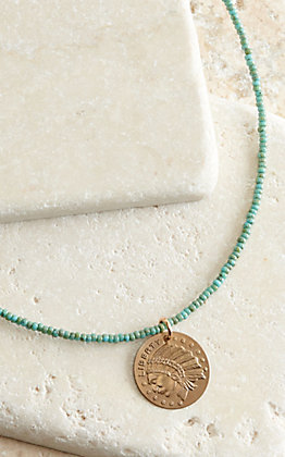 J.Forks Designs Turquoise Seed Beads with Bronze Indian Coin Necklace